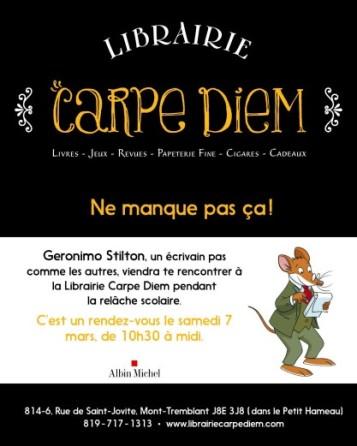 Semaine de relâche - Librairie Carpe Diem