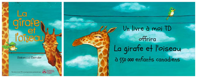 Un livre à moi TD offrira «La girafe et l'oiseau» à 550 000 enfants canadiens